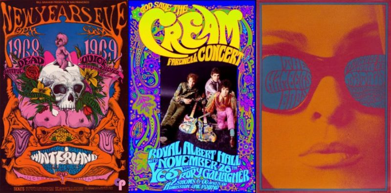 Carteles vintage de festivales y conciertos de rock de los años 60