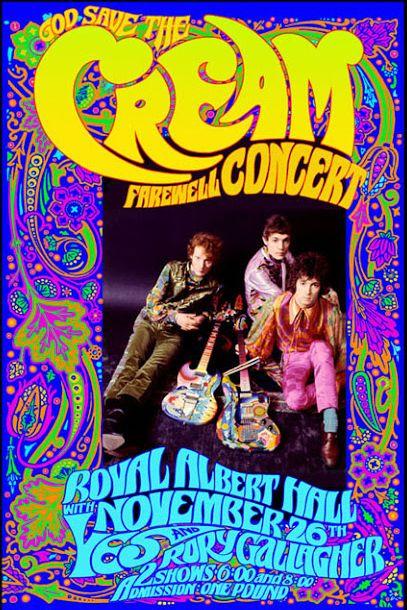 cartel concierto cream en royal albert hall, noviembre 1968