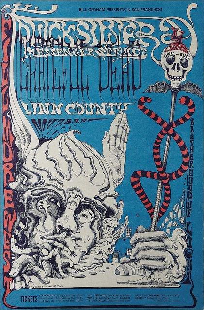 cartel concierto grateful dead en el fillmore noviembre 1968 lee conklin