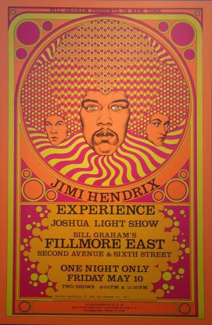 cartel concierto jimi hendrix experience en fillmore east, 10 de mayo de 1968 (david edward byrd)