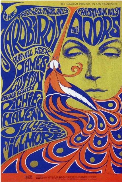 cartel concierto the yardbirds y the doors en fillmore, julio 1967 bonnie maclean