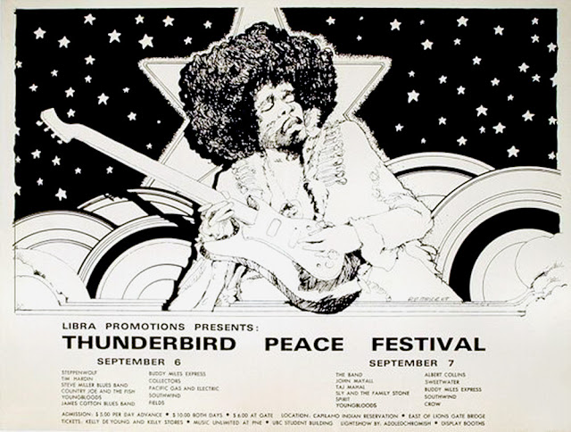cartel thunderbird peace festival, septiembre de 1969 bob masse