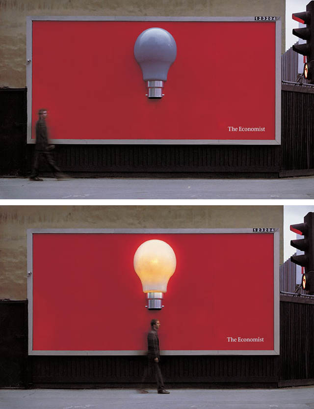 carteles publicitarios bombilla que se enciende