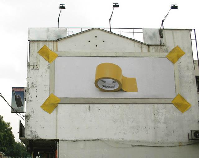 carteles publicitarios cinta aislante