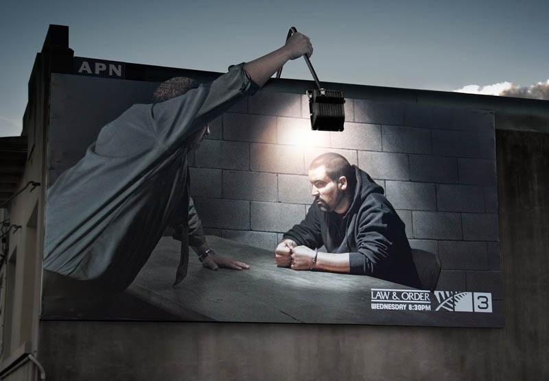 carteles publicitarios law y order integracion de foco