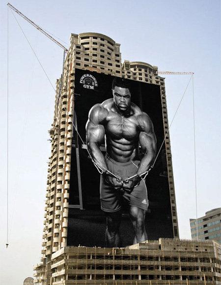 carteles publicitarios powerhouse gym musculacion