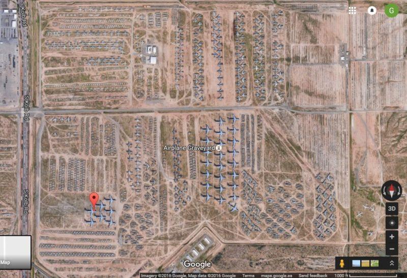 google earth - el cementerio de aviones de tucson