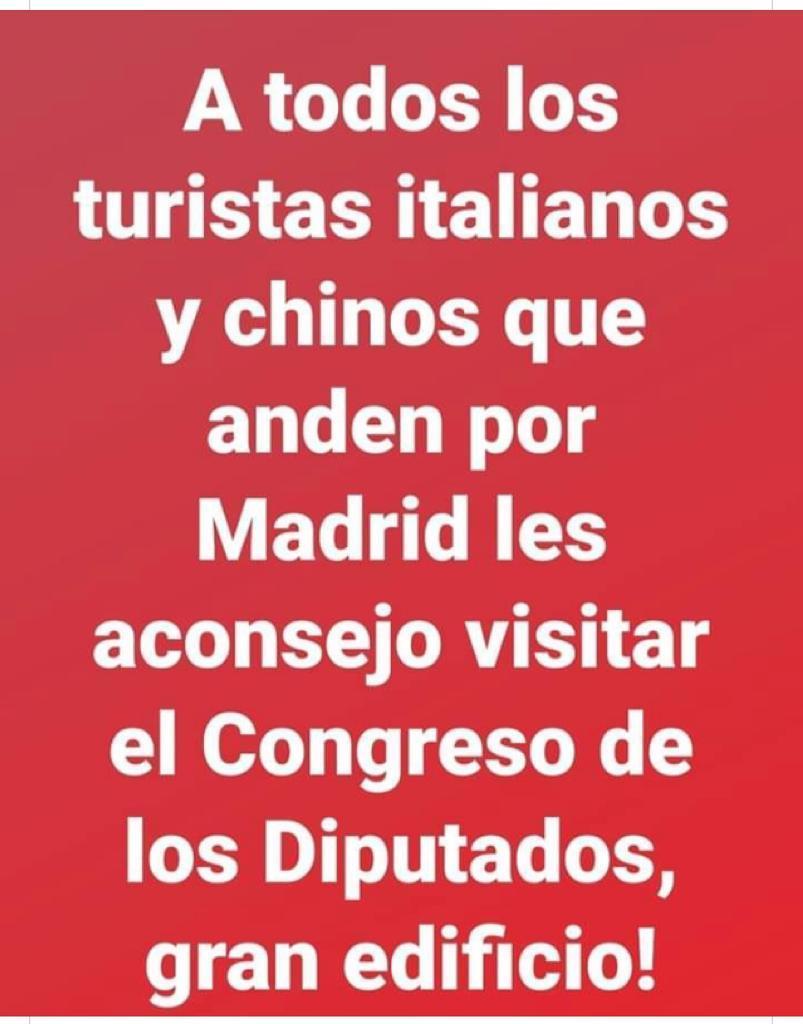memes coronavirus a todos los turistas chinos e italianos que visiten el congreso de los diputados