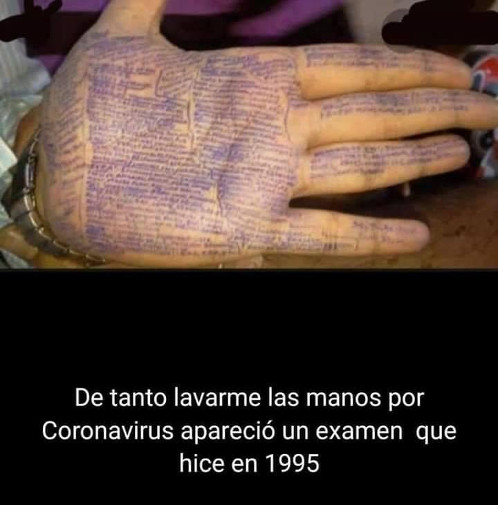 memes coronavirus de tanto lavarme las manos por coronavirus aparecio un examen