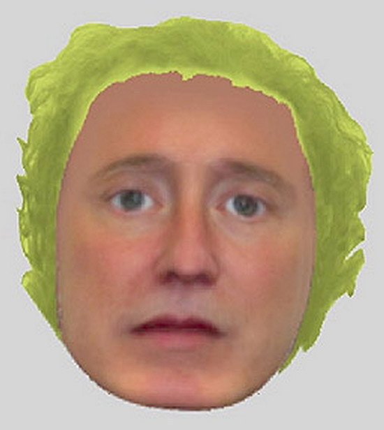 retrato robot wtf - hombre con pelo verde